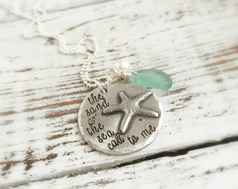 Beach Jewelry . The Sand & The Sea Call To Me Necklace . starfish necklace . sand and sea . beach glass . custom jewelry . starfish . pewter