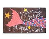 Mermaid art, mermaid painting, mermaid sign, nautical nursery art, wood mermaid, mermaid nursery art - Reserved for Angela