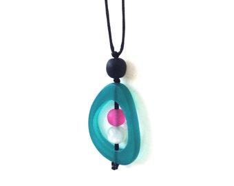 Modern Minimal Nursing Necklace - Baby Safe Breastfeeding Necklace - Monkey Mama Twiddle Buster - Teal, Pink, Pearl White, Black