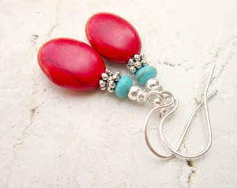 Red & Turquoise Earrings.Red Turquoise Howlite Dangle Earrings.Turquoise and Red Earrings.Turquoise Jewelry.Red and Turquoise Jewelry