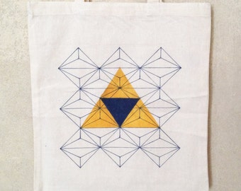 Geometrical shapes tote bag // Hand drawn design // Cotton bag // Triangles