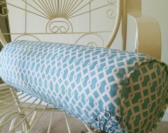 Turquoise and White Geometric Roll Pillow/Bolster/Waverly Ellis Fabric