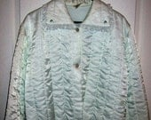 Vintage 1950s Ladies Quilted Satin Bed Jacket by Nanette Large Only 15 USD