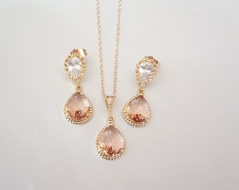 Champagne, peach, earrings and necklace set,Gold filled,Cubic Zirconia earrings with sterling posts,High quality-Wedding jewelry set,Gift