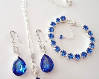 Sapphire jewelry set ~ Bridal jewelry ~ 3 piece ~ Blue sapphire crystal set ~ Blue sapphire necklace, bracelet, earrings ~ Something blue ~