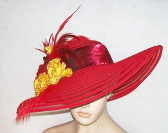 Wide Brim Red Hat -Red with Yellow - Kentucky Derby Hat, Garden Party Hat or Tea Party