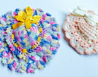 Two Vintage Crocheted Heart Pincushions