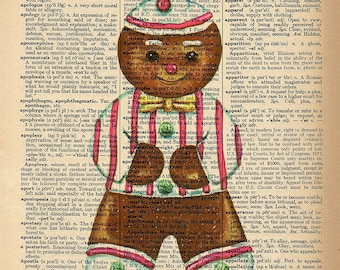 Dictionary Art Print -Gingerbread Man - Upcycled Vintage Dictionary Page Poster Print - Size 8x10