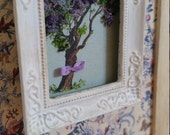 """Framed picture """"Tree"""". Handmade. Dollhouse at 1/12th scale"""