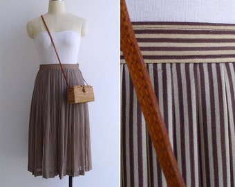 Vintage 80's 'Hanae Mori' Chocolate Stripe Pleated Skirt XS