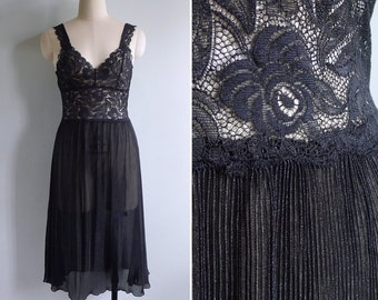 Vintage 80's Sheer Floral Black Lace Slip Dress S or M