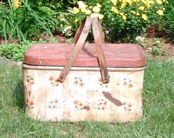 Vintage Picnic Basket with Wooden Handles