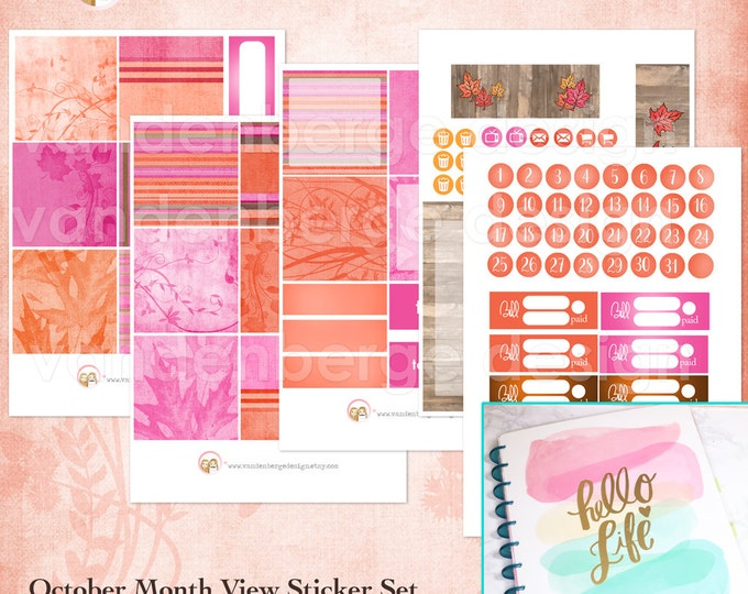 BIG Happy Planner October Month View Kit - sized to fit the MAMBI Big Happy Planner