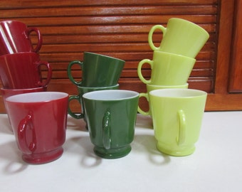 Vntg Milkglass Coffee Mugs Set of 11 TriColor set