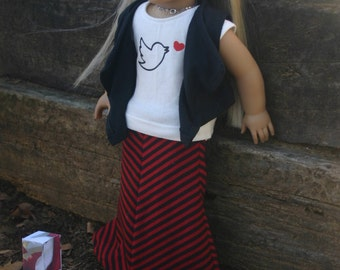 Peace and love Maxi skirt, Graphic tshirt,vest and hairbow  made to fit your 18 inch american girl or similar doll .