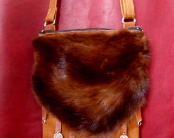 messenger bag recycled leather and fur