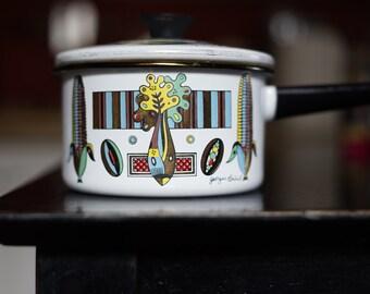 Georges Briard Green Garden Corn Print Small Enamel Sauce Pot