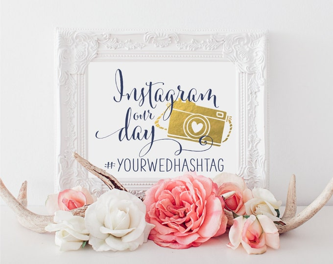 Instagram Wedding Sign | Personalized Wedding Sign | Wedding Printable Sign | DIY Wedding Decor