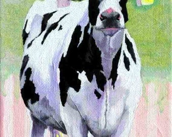 Cow Art Print, Cow Painting, Cow Archival Print & Cotton Candy Stripes, Fun Cow Print 11 x 14 by Jemmas Gems