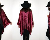 Burgundy Red Velvet Burnout Kimono, Oversized Boho Gypsy Duster, Black Goth Long Cardigan,Ruby Red Sexy Witch Tunic, Long Sleeve Velvet Robe