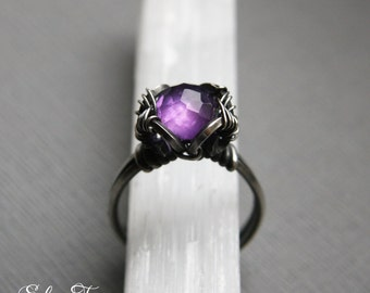 925 Silver Amethyst Ring, Wire Wrapped Unique Ring, February Birthstone Ring, MADE TO ORDER