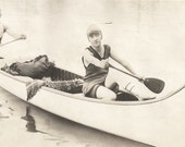 """Vintage Snapshot """"Run Aground"""" Handsome Man & Young Woman Paddling Canoe Found Vernacular Photograph"""