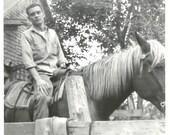 "Vintage Snapshot ""Urban Cowboy"" Handsome Young Man Horseback Riding 1961 Found Vernacular Photo"