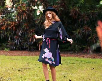 Vintage 70s Dragon Dress Black Purple Japanese Print Dress
