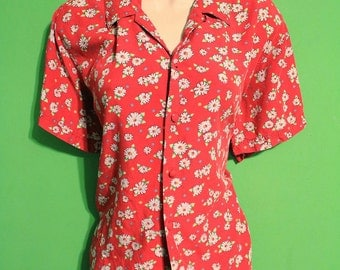 Vintage 90s Womens Daisy Floral Blouse Indie Hipster Boho Grunge