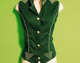 Vintage 90s Womens Size Large Marching Band Style Arrow Gold Accent Vest Hipster Boho Summer
