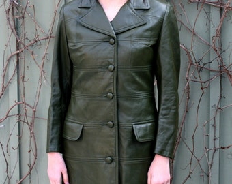 vintage Green Leather Trench Coat 1970s Size Medium mod leather coat