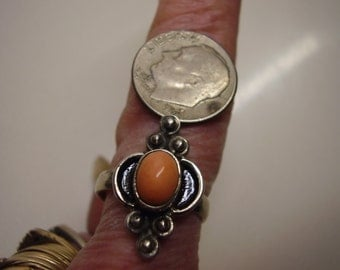 Vintage handmade sterling and coral ring Size 8 1/2  Size 7 1/4