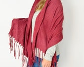 Shawl wool felted, Fringed scarf Red pashmina, Plus size cardigan, Baby Momma wrap, Eco fashion accessory by Texturable