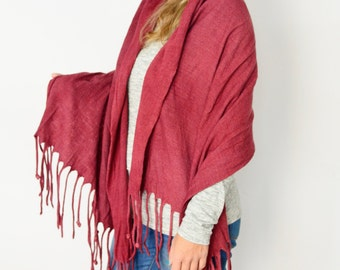 Ruby shawl wool felted Fringed scarf Red pashmina, Eco fashion accessory by Texturable