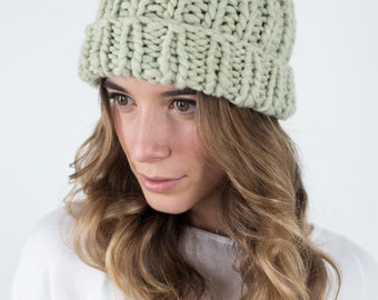 Yerba Mate Plant dyed, Cat Wool Beanie, Natural Dyed Organic Hat, Chunky knit hats,