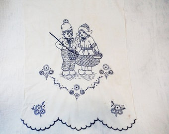 Curtain panel needlework embroidered Dutch boy and girl blue and white Holland Netherlands Sweden 1950's cottage window