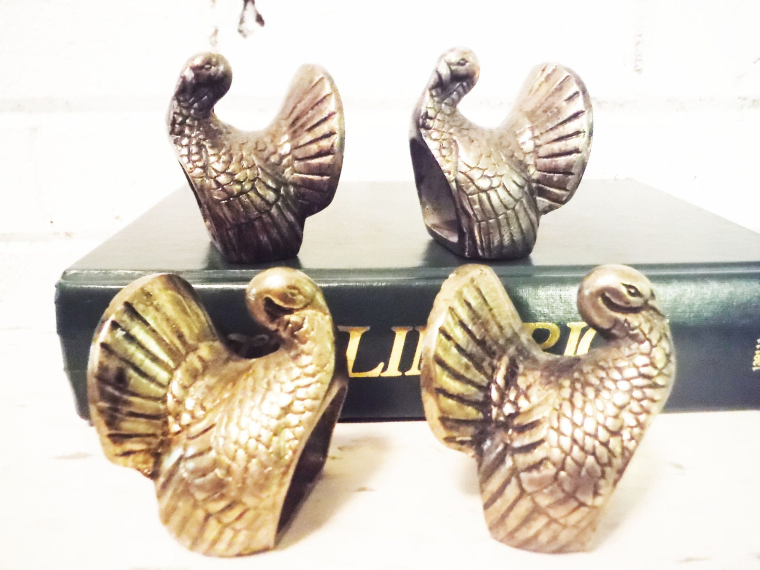four wild turkey napkin rings vintage metal shabby cottage