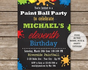 Paintball Printable Invitation - Paintball Birthday Party Invitation - Paintball Invitation - Download & Personalize at home in Adobe Reader