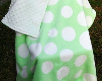 Green and White Polka Dot Minky Baby Blanket