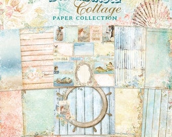 Blue Fern Seaside Cottage Collection  12 x 12 Scrapbook Paper Pad  Full Collection Pack, 2-Each Of 10 Designs, 20 Double Sided Papers Total