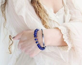 Blue Statement Bracelet - Lapis Lazuli Bracelet - Bracelet For Mom - Lapis Lazuli Jewellery - Gift For Her - Blue and Gold Bracelet