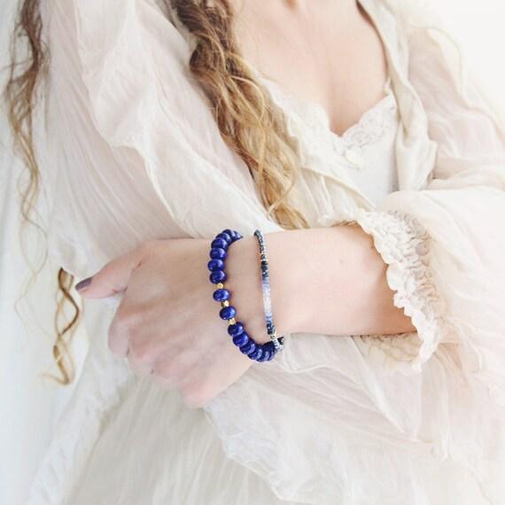 Blue Statement Bracelet - Lapis Lazuli Bracelet