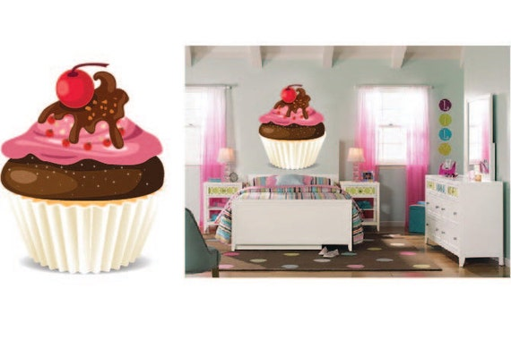 Cupcake wall decal girl 39 s bedroom decal cupcake theme for Cupcake wall art