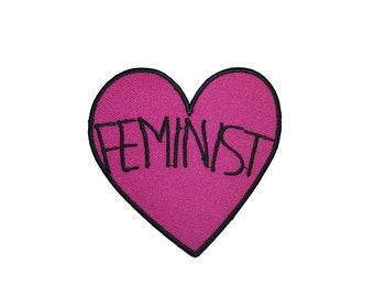 FEMINIST Candy Heart Patch Iron On Patch Embroidery Sewing DIY Customise Denim Cotton Cute Sassy Purple Magenta Tumblr Love Hearts