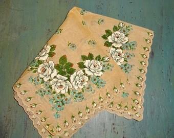 Vintage Handkerchief Hankie Roses White Roses Beige Tan Scalloped Edges