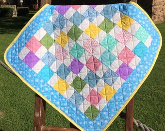 "It's A Scrap Happy Pastel Delight In This 25"" X 25"" Quilt"