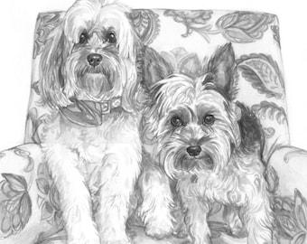 "11x14"" Watercolor 2 pet custom portrait, original watercolor painting dog cat animal pet lover painting handmade wall art gift"