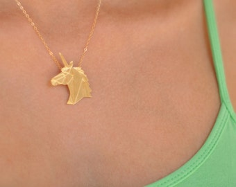 Gold Unicorn Necklace, Origami Unicorn Jewelry, Animal Necklace, Origami Animal Necklace, Unicorn Pendant, Unicorn Charm, Origami Necklace