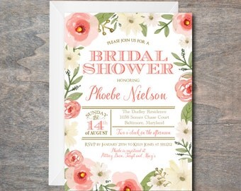 Bridal Shower Invitation, floral bridal shower invite, bridal invitation, pink, floral, DIY, Printable, bridal luncheon invitation, Peach