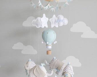 Elephant Baby Mobile, Elephants and Hot Air Balloon, Nursery Decor, Ceiling Mobile, i153
